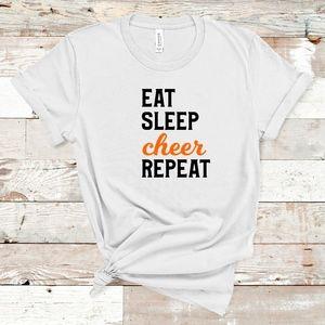 Eat Sleep Cheer Repeat Adult Tee
